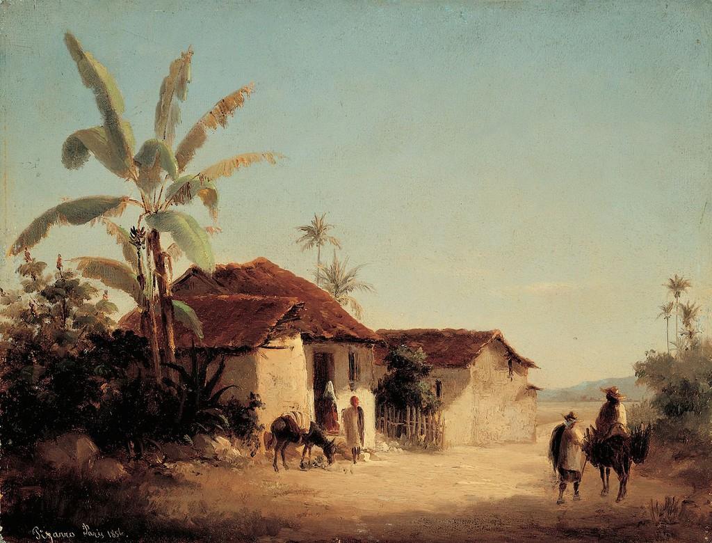Camille Pissarro, Paisaje tropical con casas rurales y palmeras, 1853
