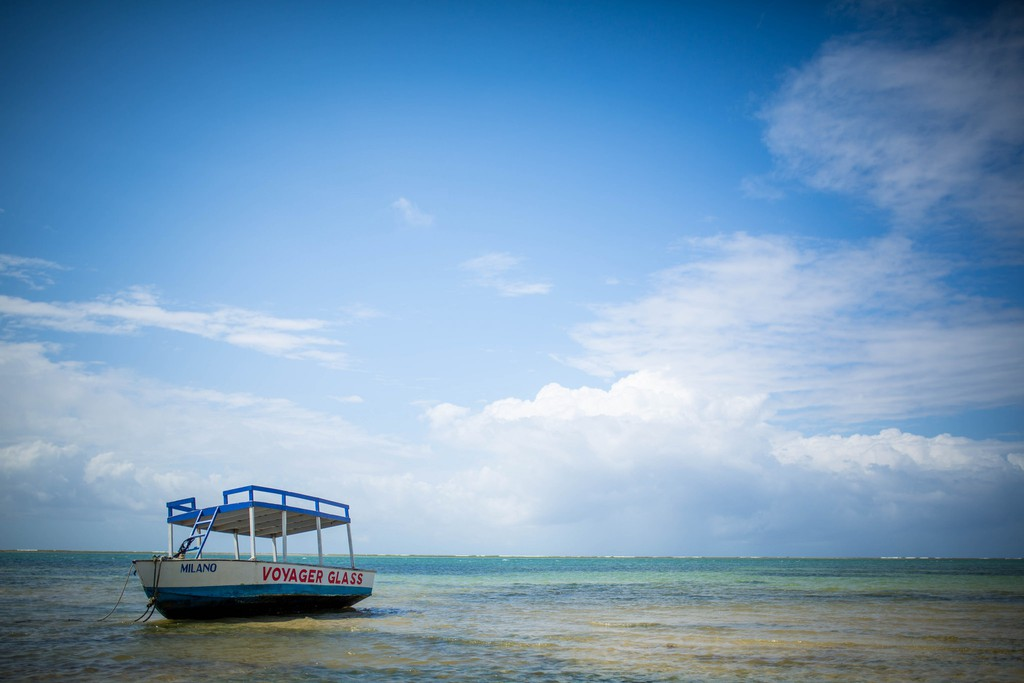 A glass-bottomed boat on the shores of Nyali beach