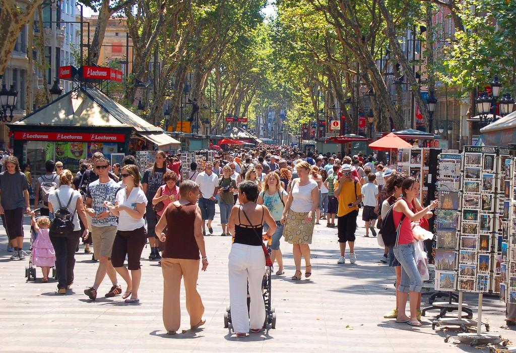Tourists on la Rambla in Barcelona © Mark_M