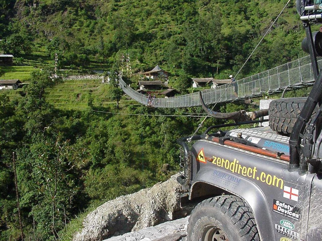 Suspension bridge above the Bhote Kosi, from where bungee jumpers and canyon swingers take off