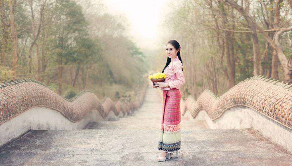 Thai woman in Thai national dress