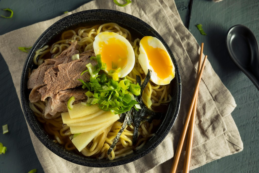 Homemade Japanese Pork Ramen Noodles with Egg and Seaweed