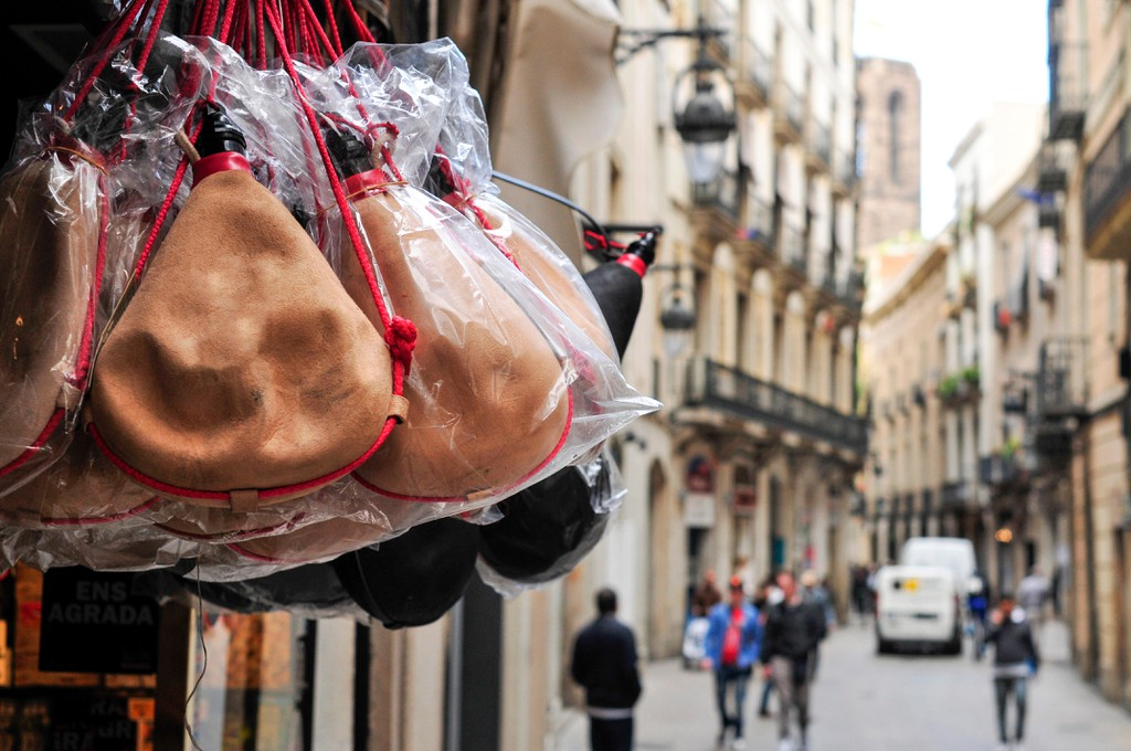 Spanish bota bags on sale in the old town of Barcelona, Spain