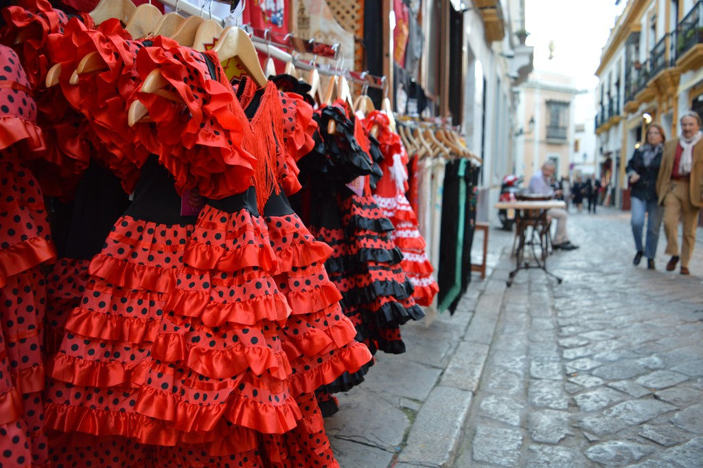 Flamenco dresses for sale, Sevilla, South of Spain