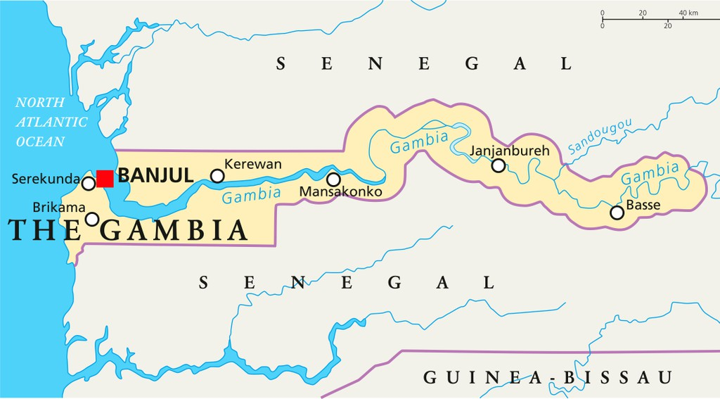 The Gambia Political Map with capital Banjul, national borders, important cities and rivers. English labeling and scaling.