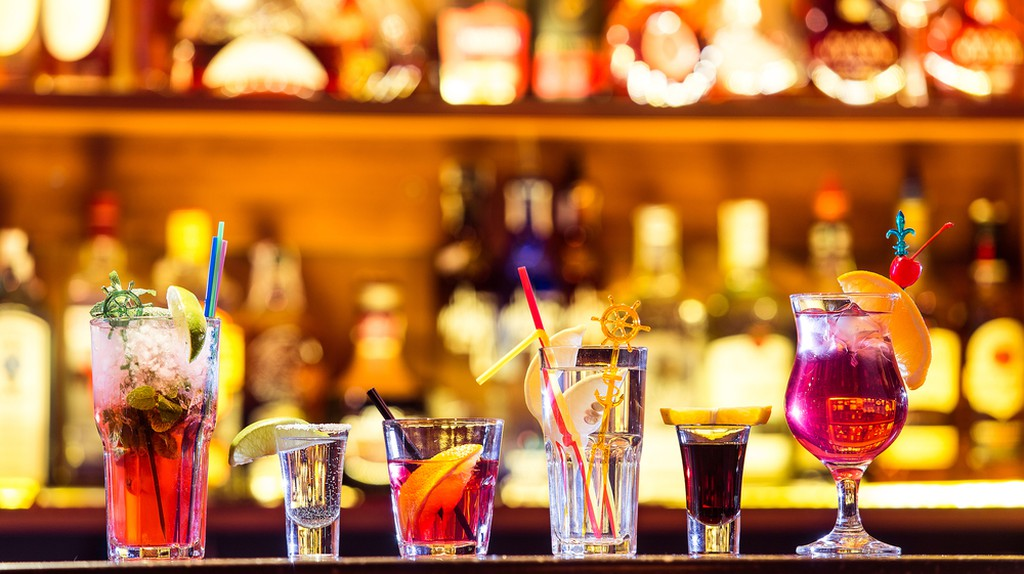 Selection of tropical cocktails