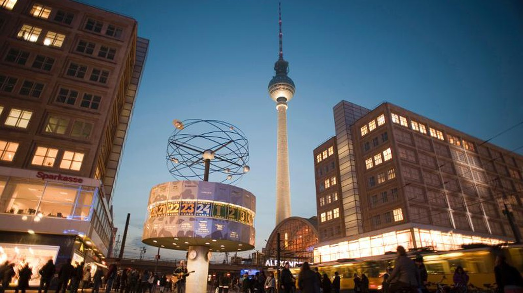 landmarks in alexanderplatz, berlin, the fernsehturm and the  Weltzeituhr world clock