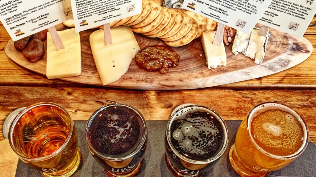 Flight of Beer and Local Cheese | Courtesy of The Second Wedge Brewing Company