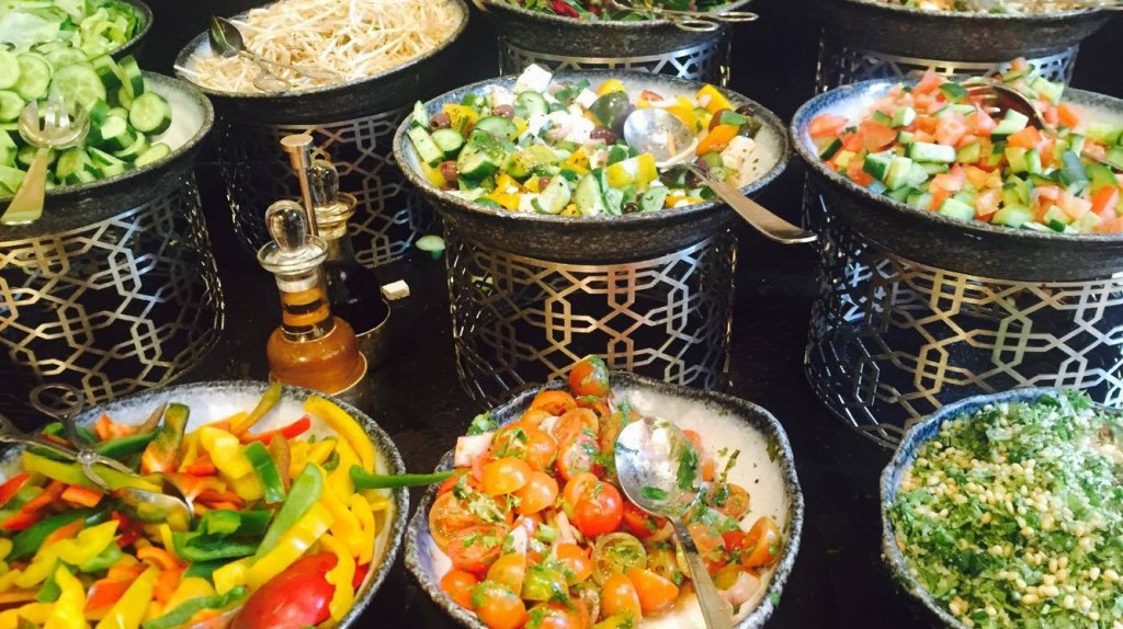 Array of Salads at The Waldorf Astoria Jerusalem | Courtesy of Serena Carsley-Mann