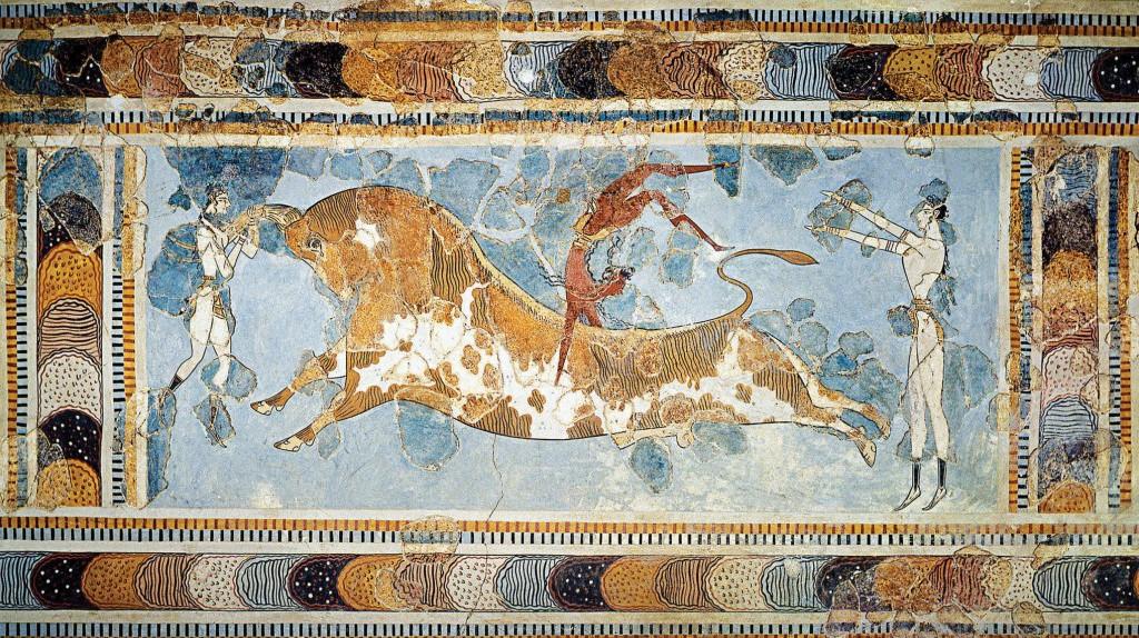 The bull-leaping fresco (circa 1600 - 1450 BCE), found in Knossos palace, Crete, Greece.   ©Jebulon / Wikimedia Commons