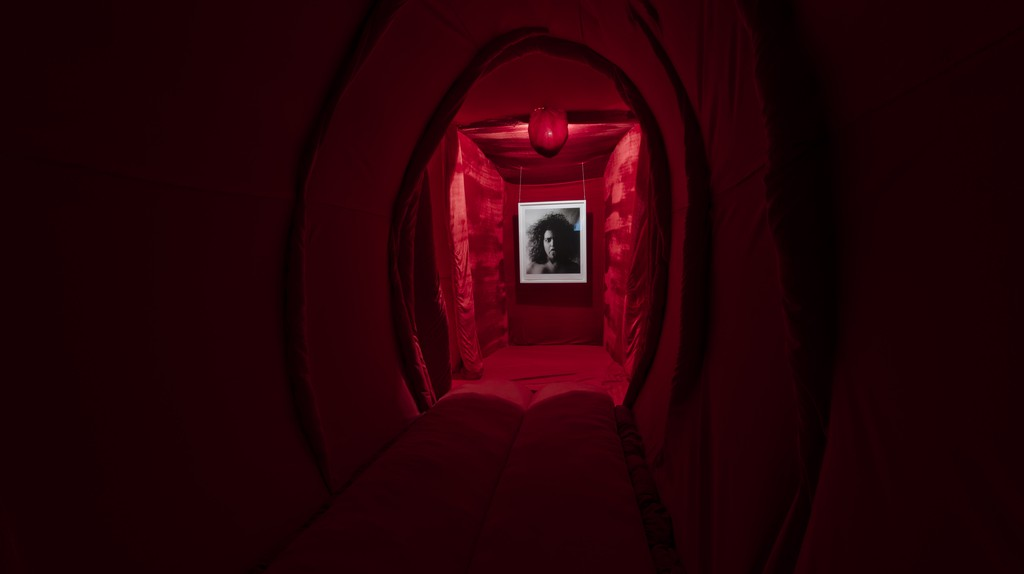 Reshma Chhiba; Come Inside; 2013; fabric, wool, batting, wood, swords, light, photographic print, sound installation; approximately 12m deep x 3m wide x 2.5m high | Image courtesy of the artist, photograph by Anthea Pokroy