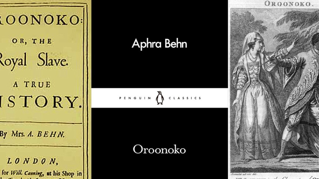 (l-r) The title page of Oroonoko's first edition, the latest Penguin Little Black Classics edition, and a handout at the 1776 performance of Southerne's theatrical adaptation   Courtesy of Penguin Publishing for the second, public domain for the rest.