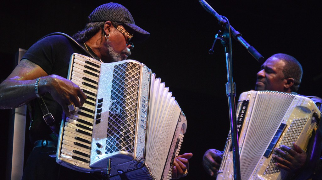 Zydeco bands typically include fiddles, keyboards, and horns.