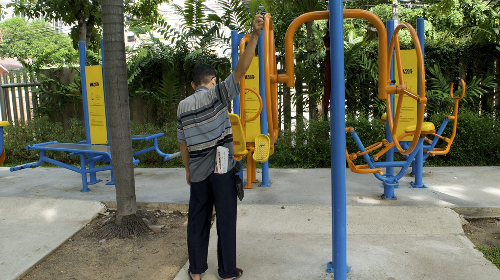 Outdoor gym in Santiphap Park/Courtesy of Kelly Iverson