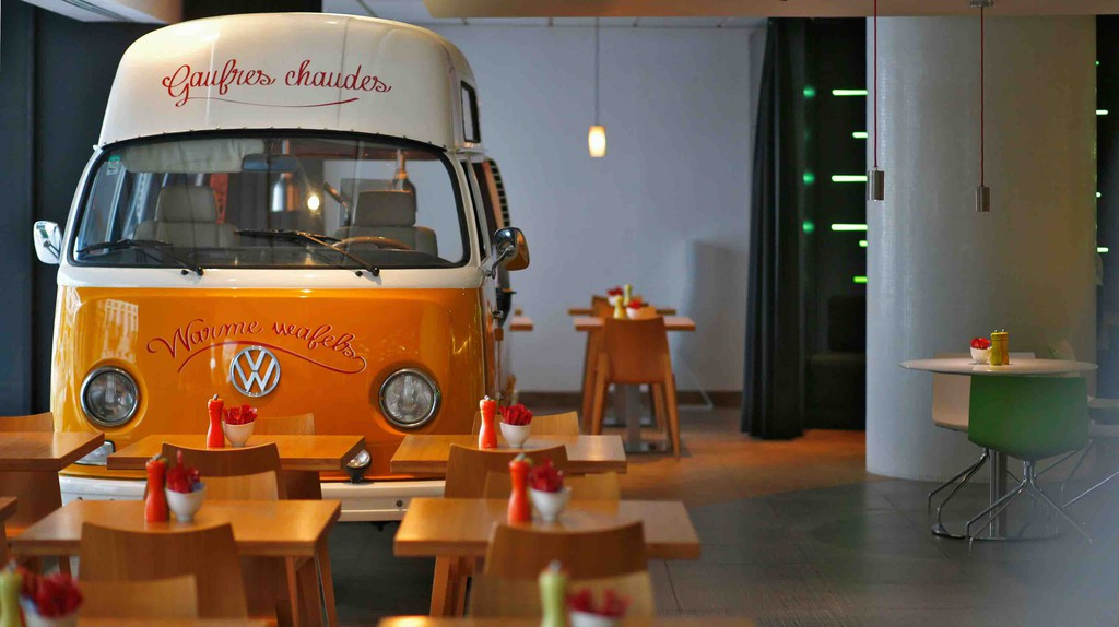 Budget-conscious in no way means less creative, as proven by this waffle truck in the middle of Hotel BLOOM!'s breakfast area | Courtesy of Hotel BLOOM!