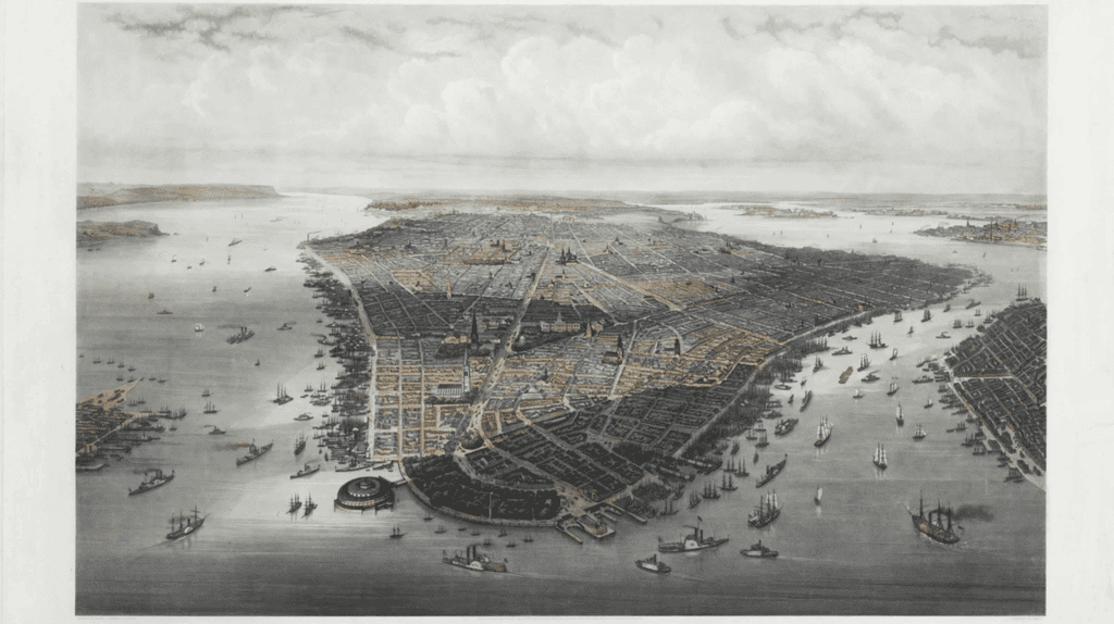 Large bird's-eye view of New York City with Battery Park in the foreground, 1851   HEINE, Wilhelm (1827-1885) and Robert KUMMER (1810-1889)/ Wikicommons