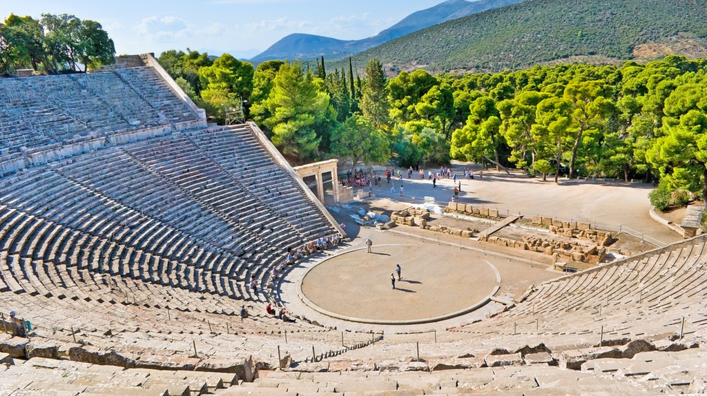 The stone amphiteater in Epidaurus is the fine example of the ancient greek architecture © eFesenko / Shutterstock