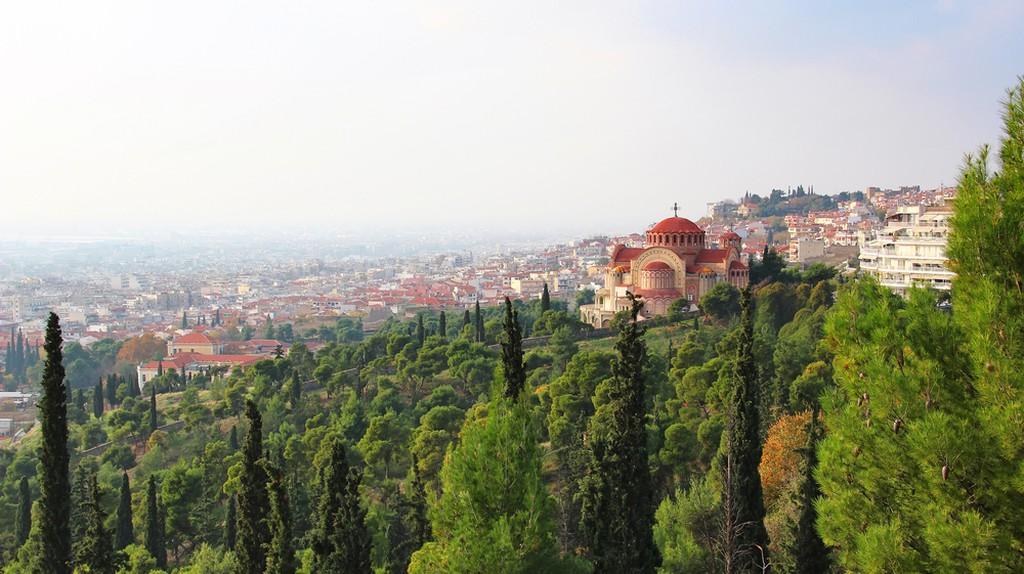 Church of St. Pavlo (Agios Pavlos) and aerial view of Thessaloniki, Greece ©Karnizz / Shutterstock