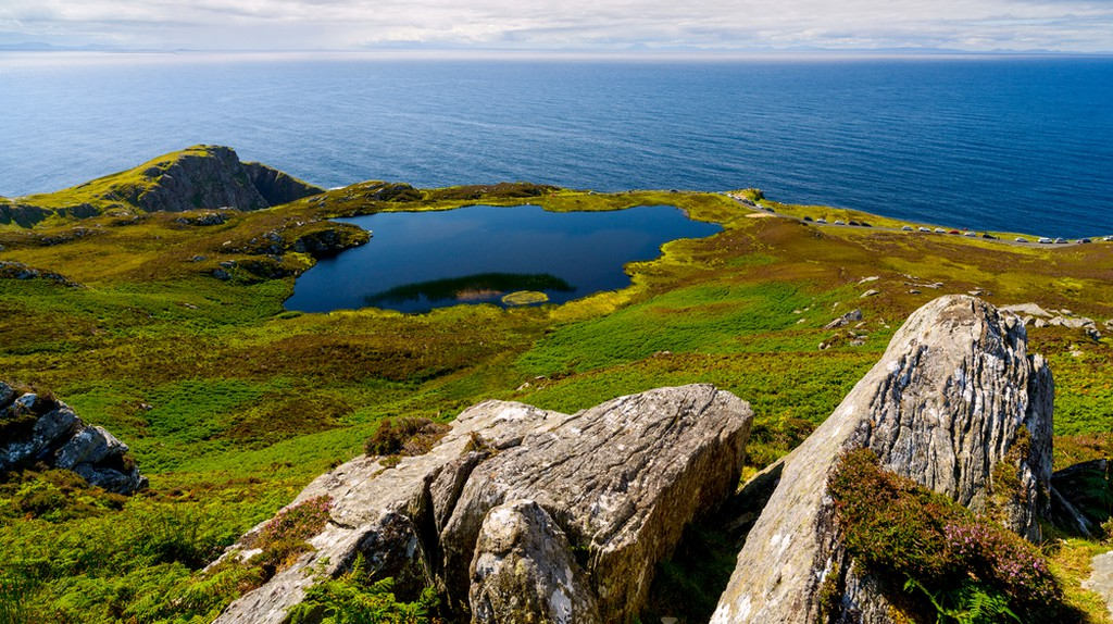Irish landscape with rocks, lake and sea, County Donegal ©Alexilena / Shutterstock