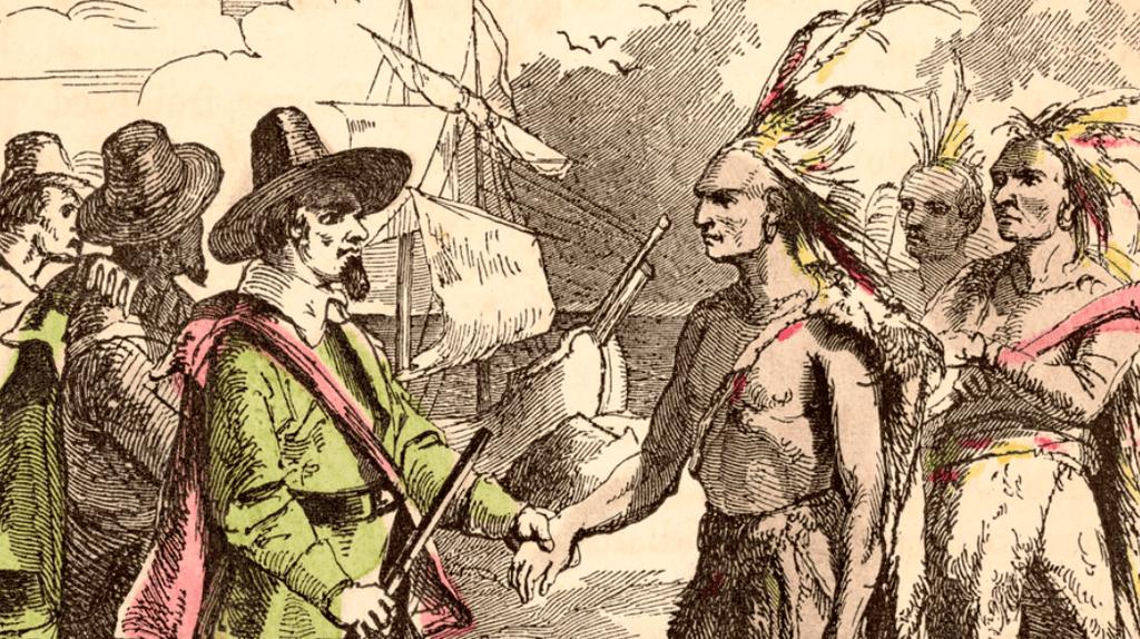 Pilgrims meet with Samoset