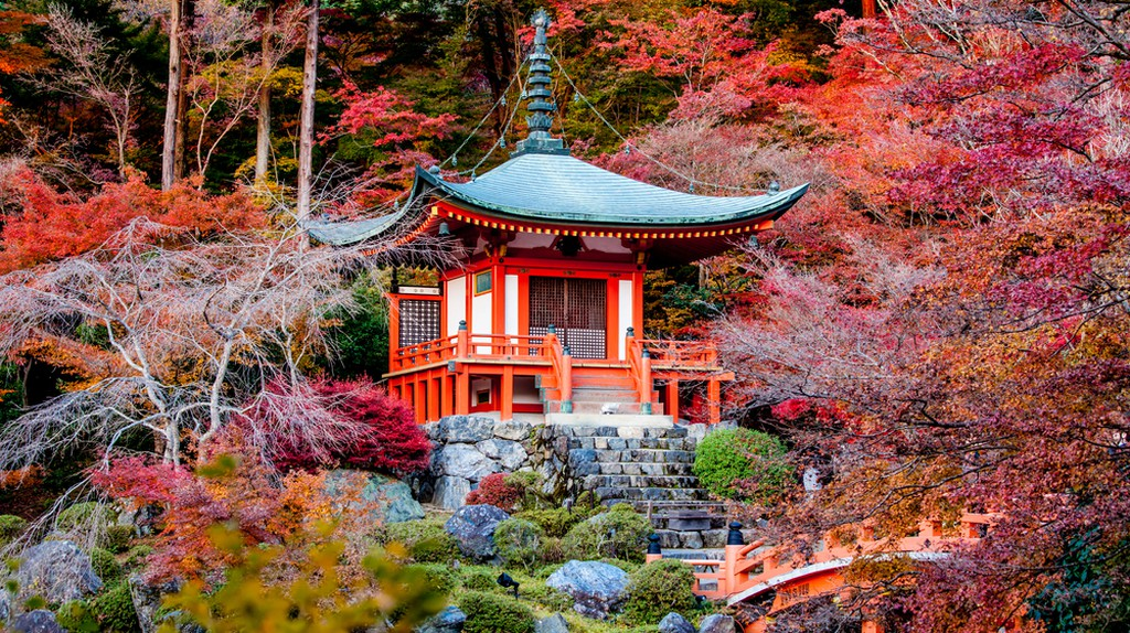 Autumn season,The leave change color of red in Tample japan | © Pigprox / Shutterstock