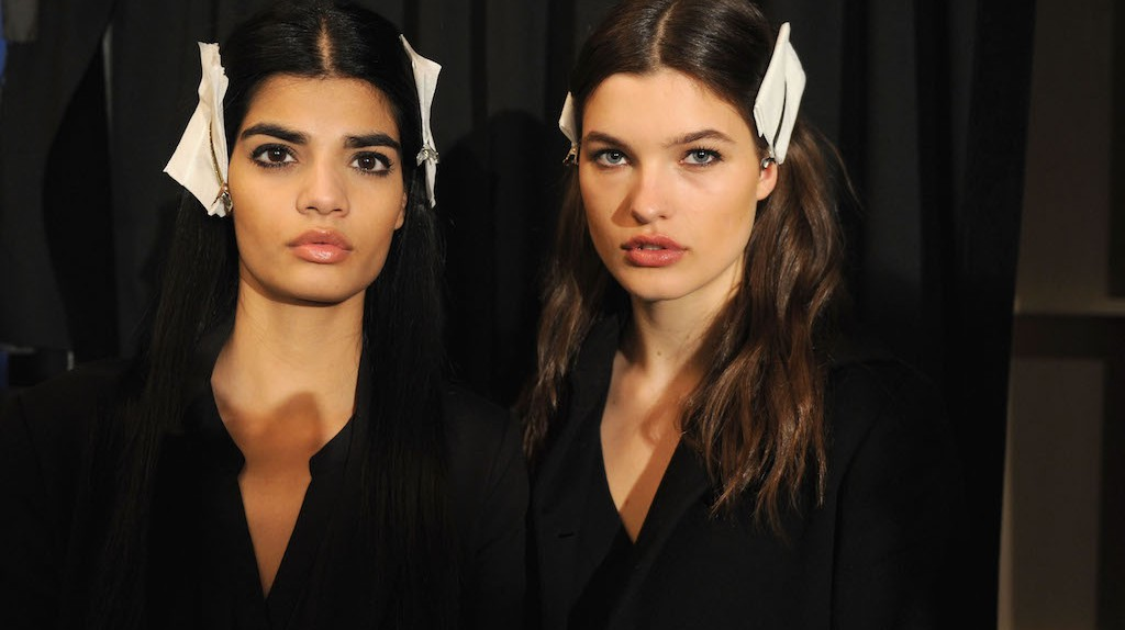 NEW YORK, NY - FEBRUARY 16:  Models pose backstage at the Brandon Maxwell A/W 2016 fashion show during New York Fashion Week.  (Photo by Craig Barritt/Getty Images for Brandon Maxwell)