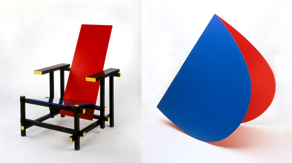 Gerrit Rietveld, Red and Blue Chair, 1919/1950, coll. Stedelijk Museum Amsterdam |  Elsworth Kelly, Blue and Red Rocker, 1963, coll. Stedelijk Museum Amsterdam