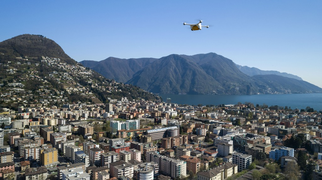 The drone over Lugano | Courtesy of Swiss Post