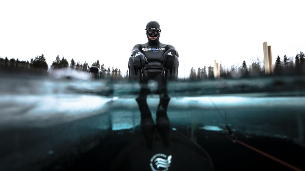 Arthur Guerin set a free diving record swimming 175m below ice   © Alex Voyer/REX/Shutterstock