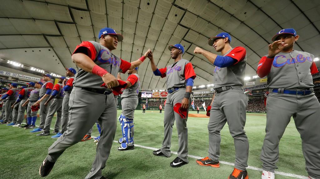 Team Cuba before its game against Japan at the 2017 World Baseball Classic | © Yuki Taguchi/WBCI/MLB Photos via Getty Images