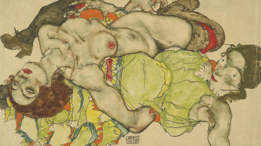 Female couple, 1915 by Egon Schiele