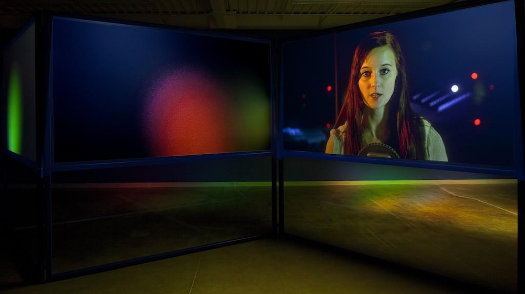 Lynne Marsh, Anna and the Tower (2014). 3 channel HD video installation, Toronto International Film Festival   Courtesy of Lynne Marsh/Tintype Gallery