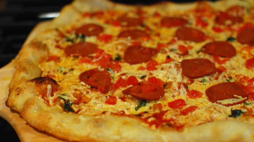Vegan Pepperoni, Tomato, and Basil Pizza