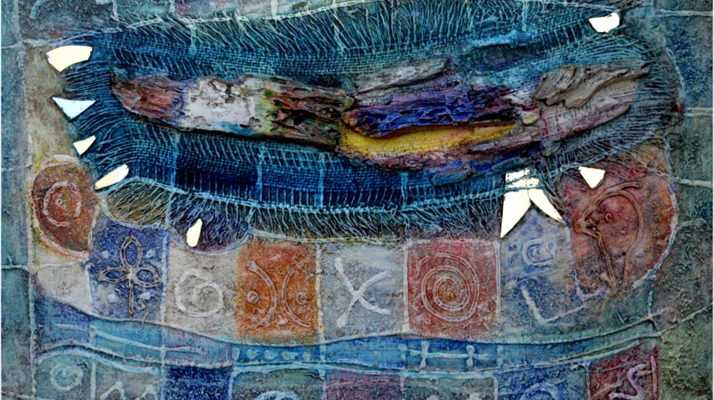 """Sam Ovraiti, """"Mother's old cloth,"""" 25 by 35 inches, mixed media. 