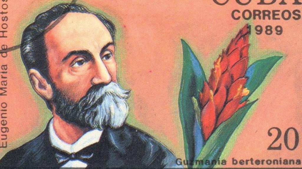 "A stamp printed in CUBA shows a Guzmania and Eugenio Maria de Hostos, series ""Historia Latinoamericana"", circa 1989 | ©Lena Lir/Shutterstock"