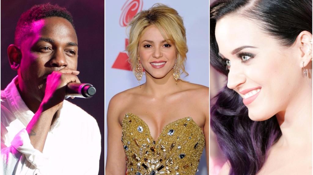 Kendrick Lamar © Kim Metso/WikiCommons | Shakira © lifrita lifi/Flickr | Katy Perry © Eva Rinaldi/Flickr