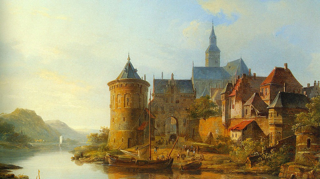 'A View of a Town along the Rhine', Cornelis Springer (19th c.) | ©WikiCommons