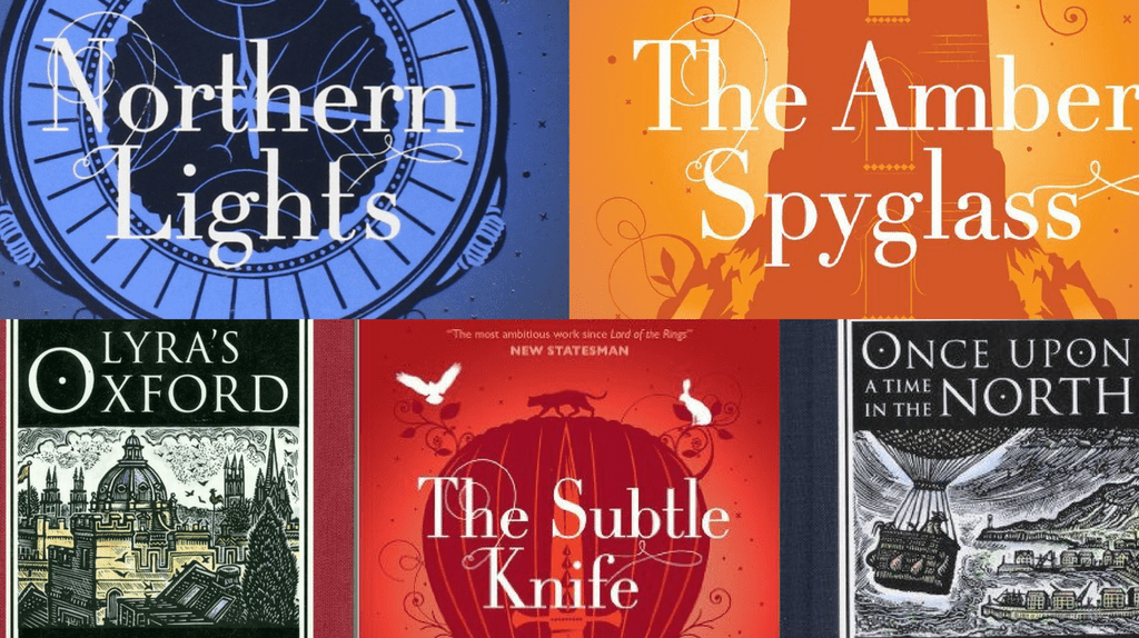 """Covers from the """"His Dark Materials"""" trilogy and accompanying short works """"Lyra's Oxford"""" and """"Once Upon a Time in the North"""" 