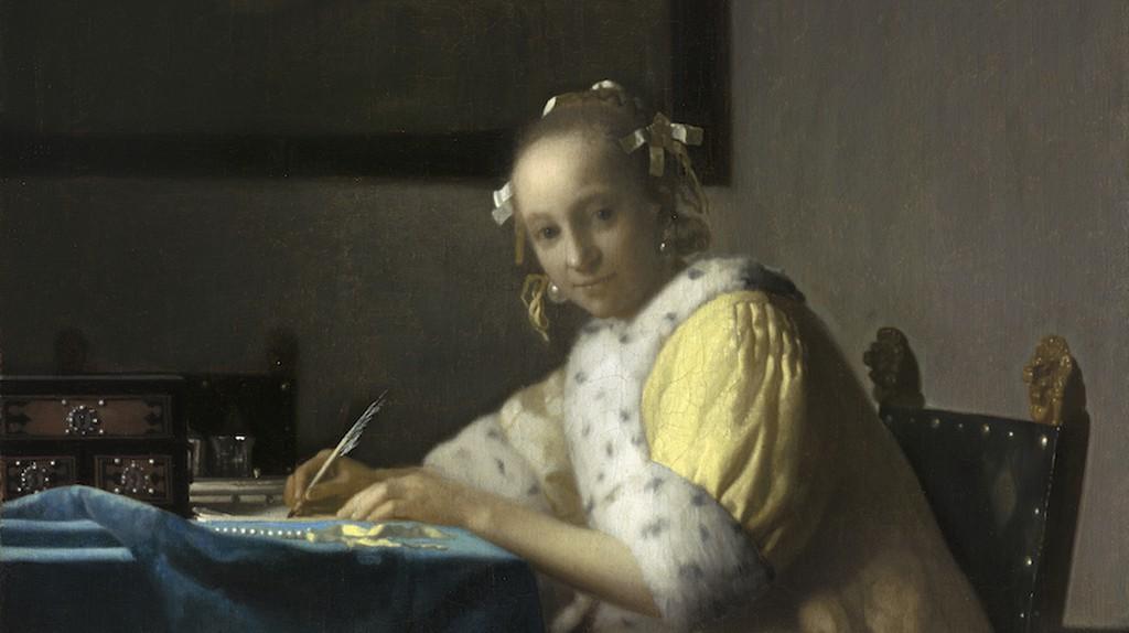 Johannes Vermeer, Lady Writing, c.1665-7   Courtesy of the National Gallery of Art, Washington.