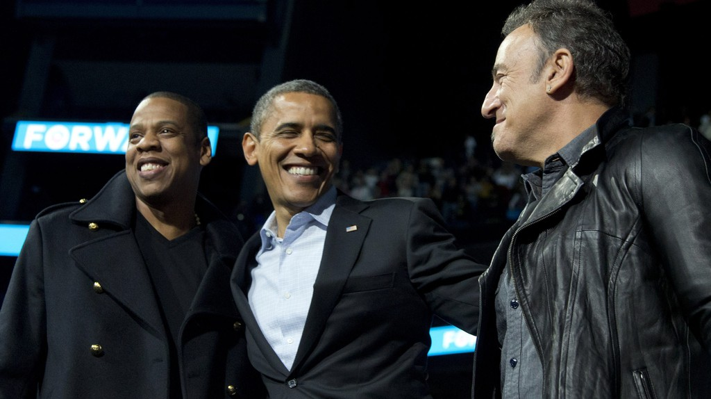 Jay Z, Barack Obama, and Bruce Springsteen © Carolyn Kaster/AP/REX/Shutterstock