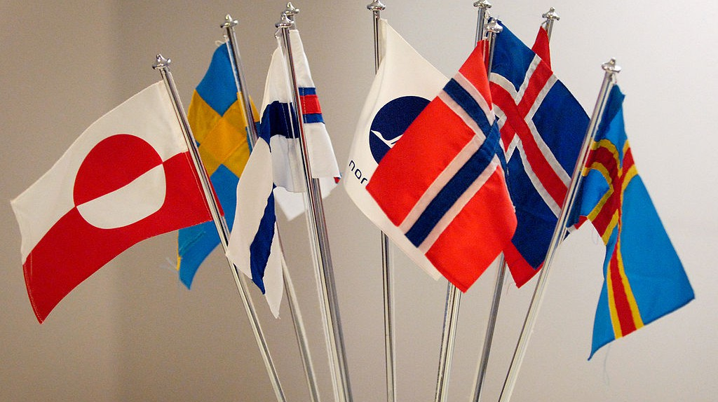 """<a href = """"https://commons.wikimedia.org/wiki/File:De_nordiska_flaggorna.jpeg""""> Flags of the Nordic countries   © Ane Cecilie Blichfeldt/Wikimedia Commons"""
