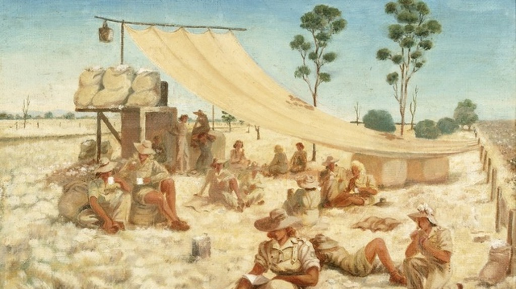 """A painting titled """"Smoko Time With the AWLA"""" 