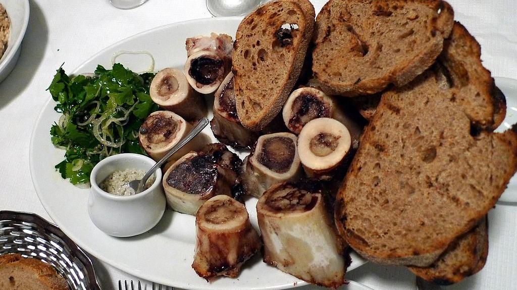 The roast bone marrow with parsley salad