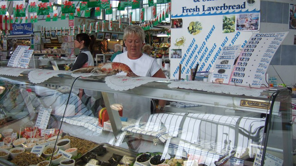 Seafood and laverbread at Swansea Market