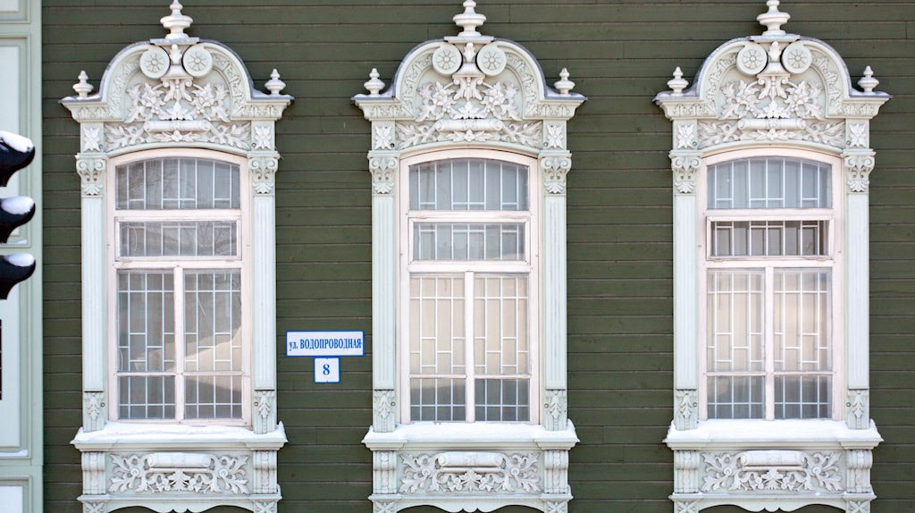 Ornate window frames in Tumen, Russia
