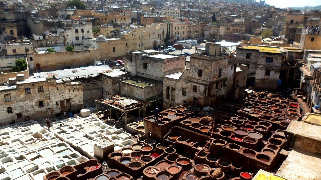 Colourful dyes at Fez's tanneries