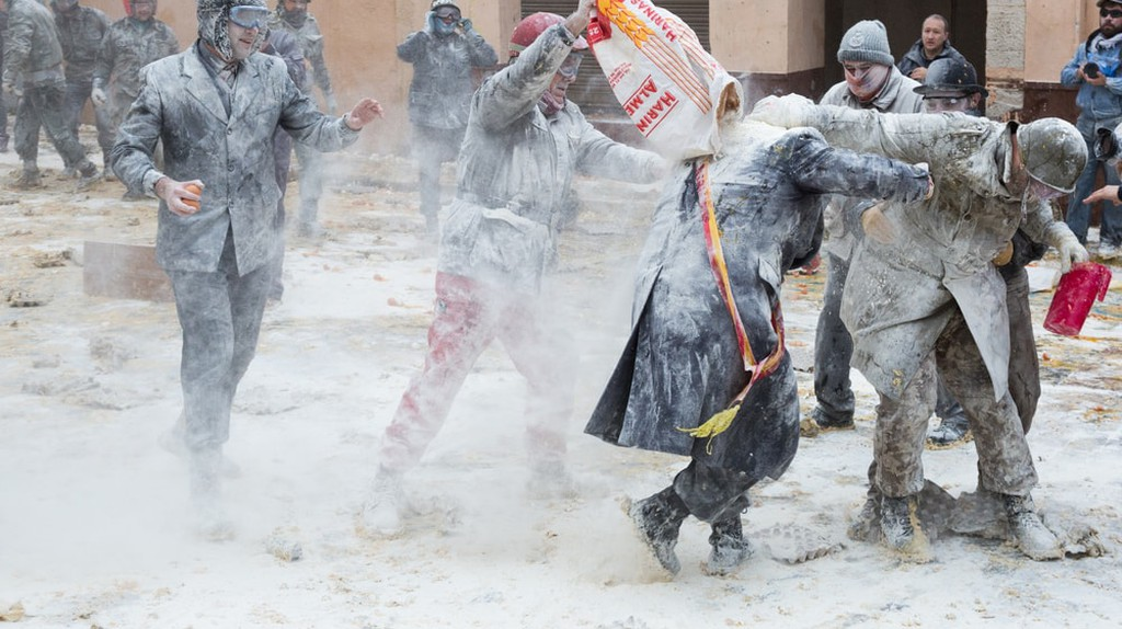 Locals take part in the annual flour fight in Ibi, Spain | © Iakov Filimonov / Shutterstock