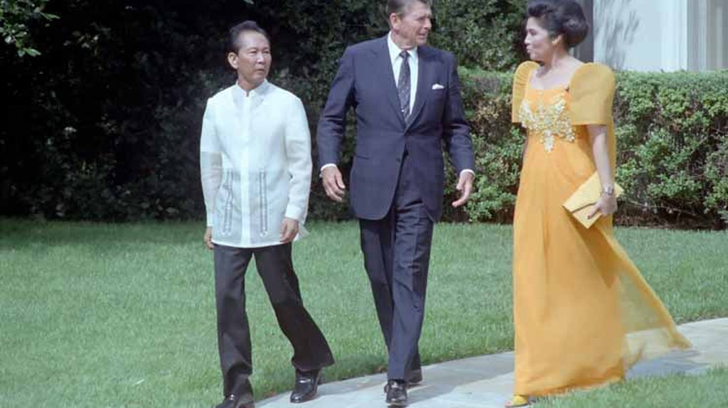 Imelda with President Reagan and her husband | via Wikimedia Commons