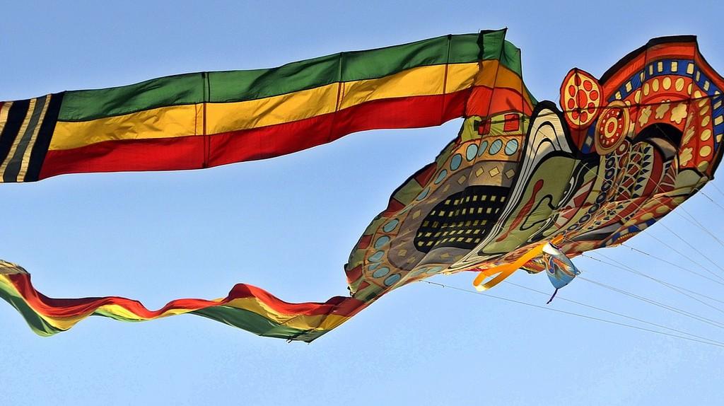 A huge kite designed like a Kathakali