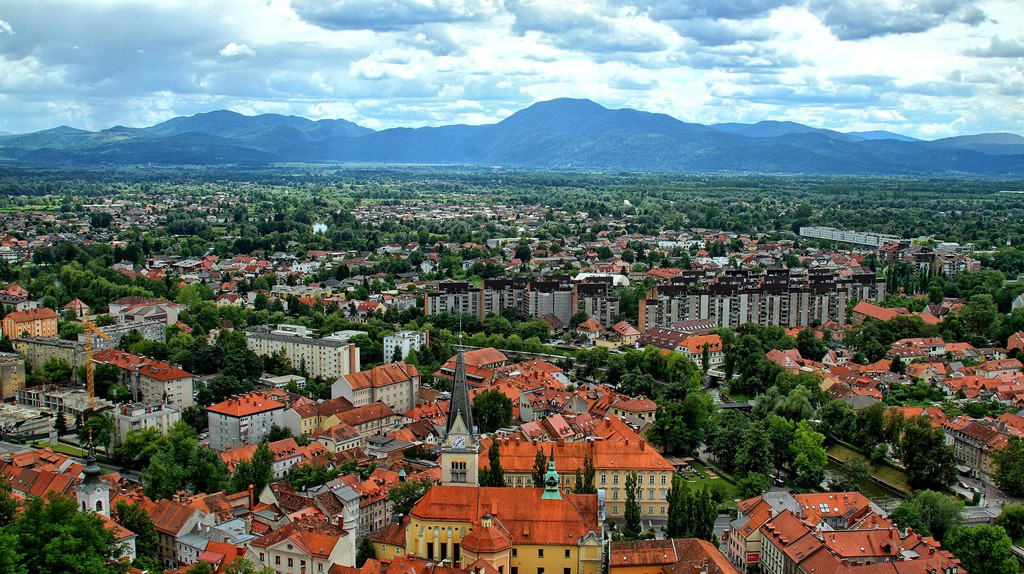 A panoramic view of Ljubljana's city center